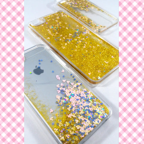 Gold Liquid glitter transparent Case with stars and mickey!