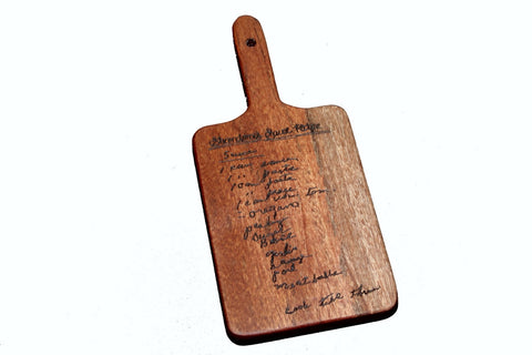 Handwritten Recipe Cutting Board with Handle Small Size 11x5