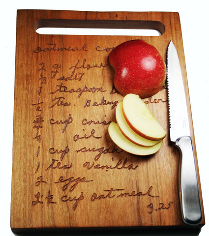 Handwritten Recipe Cutting Board with Handle Medium Size 12x9