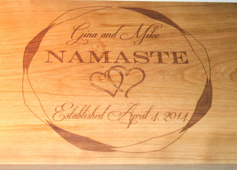 Wedding Custom Cutting Board with Interlinked Hearts