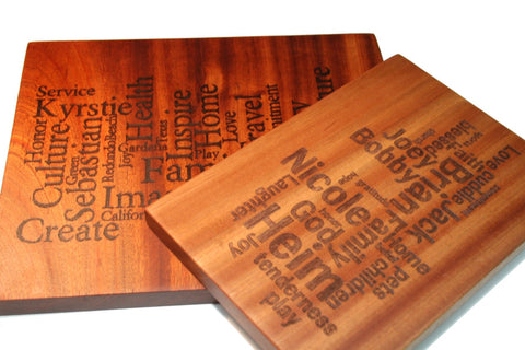 Custom Word Art Cutting Board Extra Large 18x11