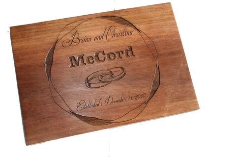 Wedding Custom Cutting Board with Rings