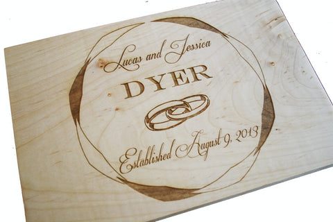 Wedding Ring Custom Cutting Board Medium Size 12x9