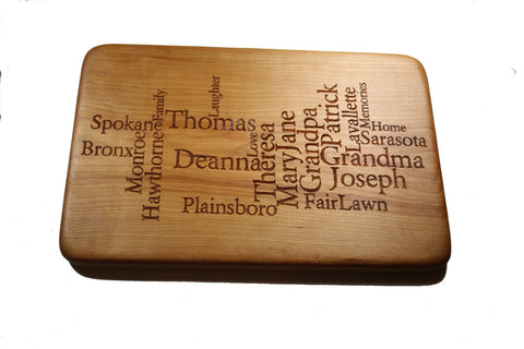 Custom Word Art Cutting Board Large 15x10