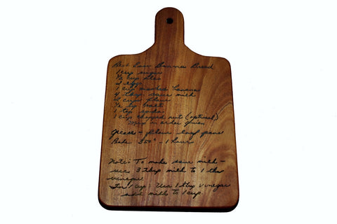 Handwritten Recipe Cutting Board with Handle Size 14x8