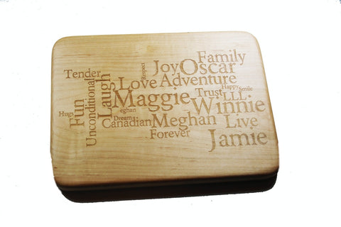 Custom Word Art Cutting Board Medium 12x9