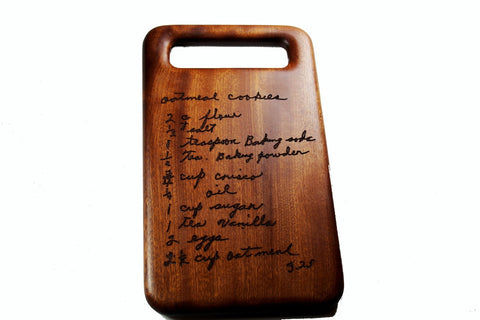 Handwritten Recipe Cutting Board with Handle Small Size 12x7