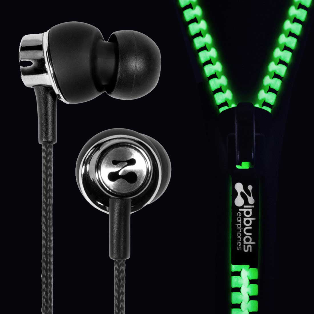 J2 Glow: Patented Premium Zipper Earbuds