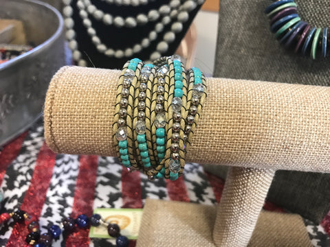 Tan and Turquoise Wrap