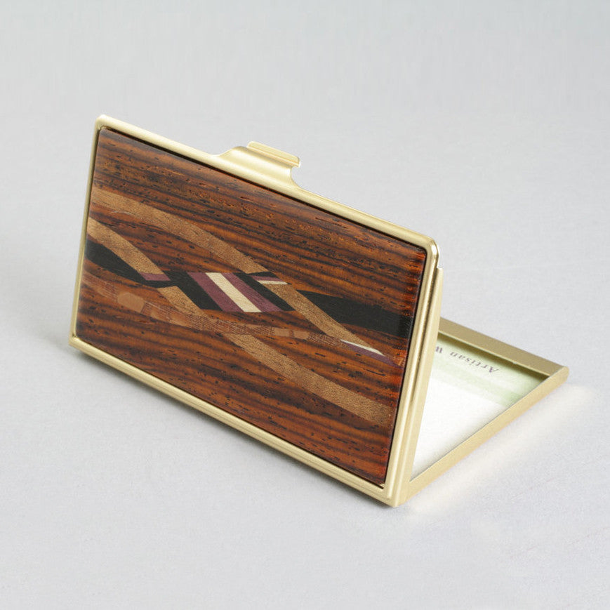 Wood Inlay Business Card Holder