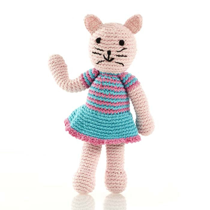 Pink Cotton Cat Rattle