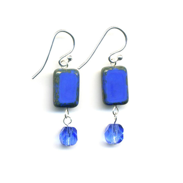Crystal Dangle Earrings - Blue