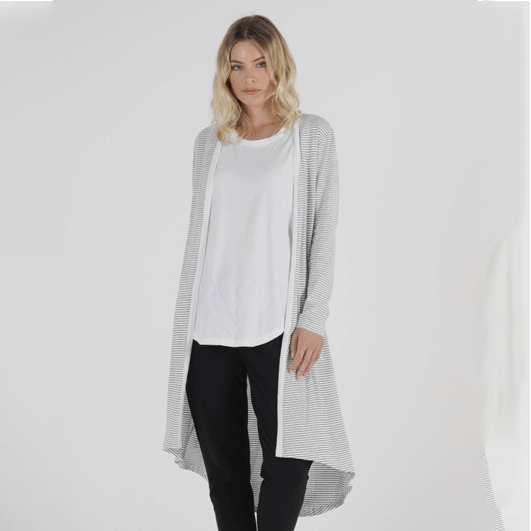 Betty Basics Scarlett Cardigan - White/Black Stripe Cardigans Betty Basics