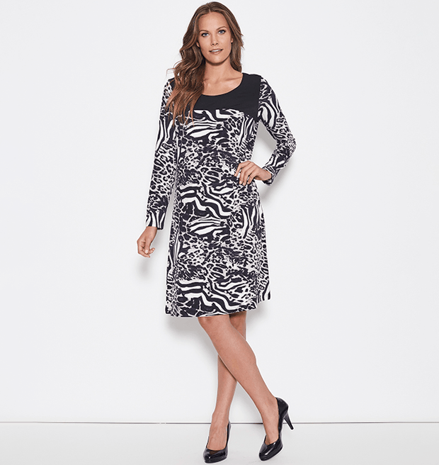 Clarity Animal Print Dress - Women's Long Sleeve Dress Dress Clarity