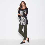 Clarity Print Knit Top - Black/Cream - Women's Long Sleeve Top Tops Clarity
