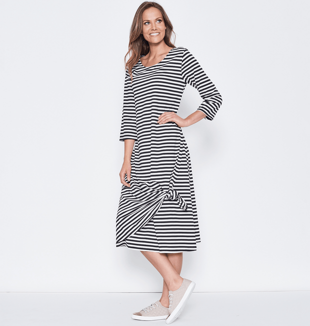 Clarity Stripe Dress - Black/White - Women's 3/4 Sleeve Dress Dress Clarity