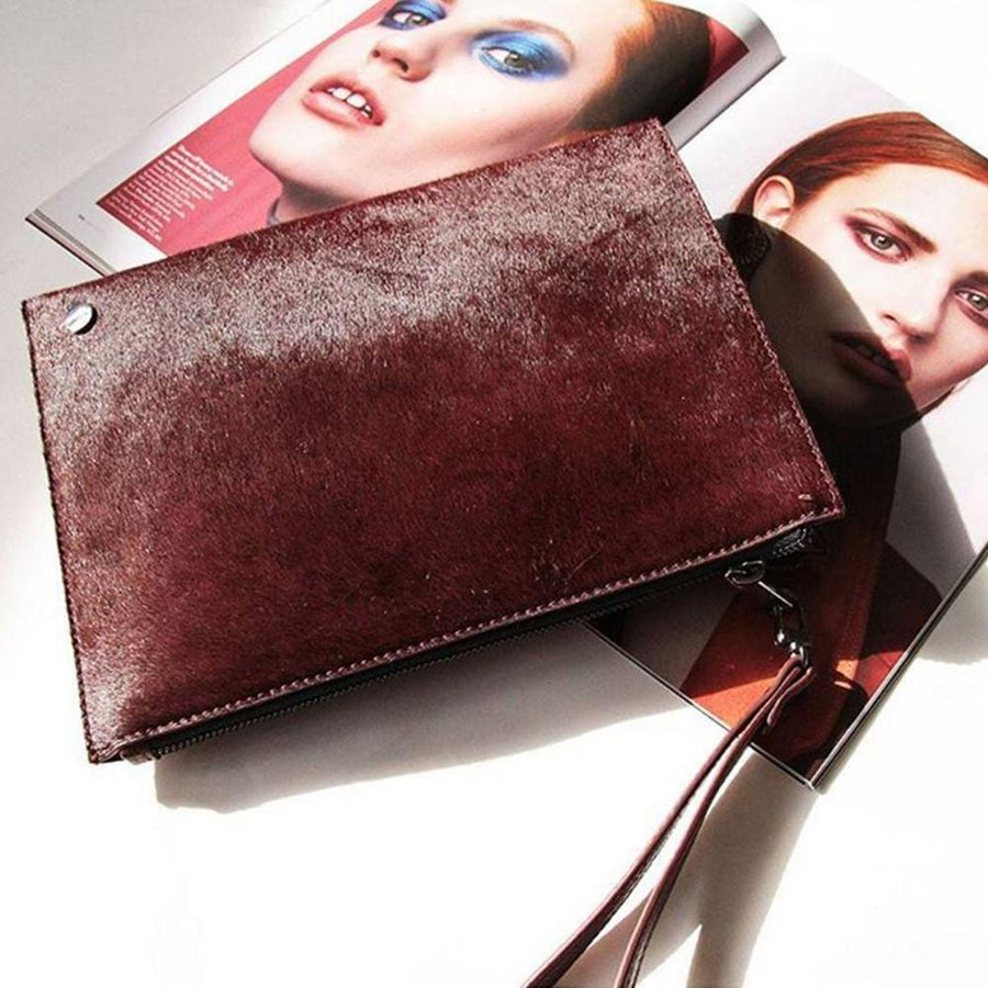 ESTA Pony Fur Pochette- RRP $129 - Red - Olga Berg Handbags and Bags Online
