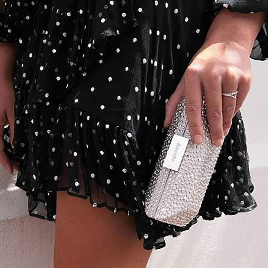 MACY Square Facetted Clutch- RRP $99.95 - Silver - Olga Berg Handbags and Bags Online