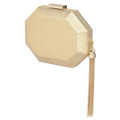 SIA Metallic Octagon Pod- RRP $99.95 - Gold - Side - Olga Berg Handbags and Bags Online