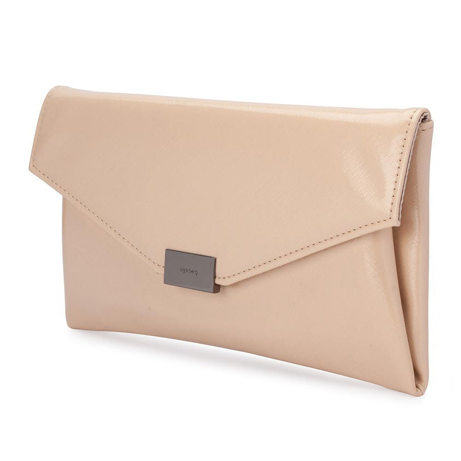 KARIN Etched Patent Fold Over- RRP $79.95 - Natural - Olga Berg Handbags and Bags Online
