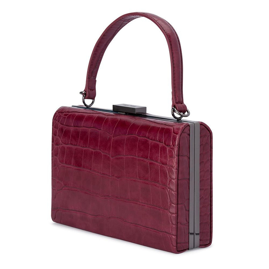 FLORENE Reptile Top Handle- RRP $109 - Wine - Olga Berg Handbags and Bags Online