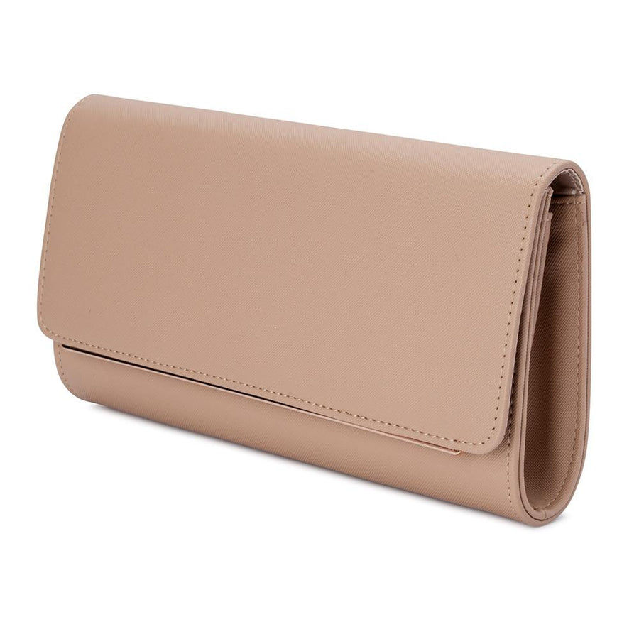 LEE Saffiano Foldover Clutch- RRP $79.95 - Natural - Olga Berg Handbags and Bags Online