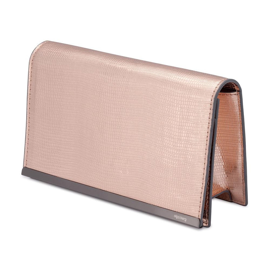 FELICE Metalic Reptile Clutch- RRP $89.95 - Rose Gold - Olga Berg Handbags and Bags Online