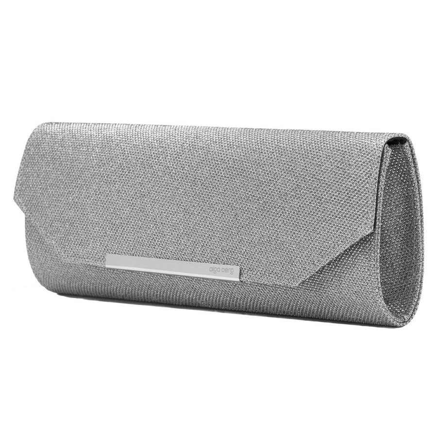 'Saige' Sparkle Woven Metallic Clutch - OB6261- RRP $69.95 - Silver - Olga Berg Handbags and Bags Online