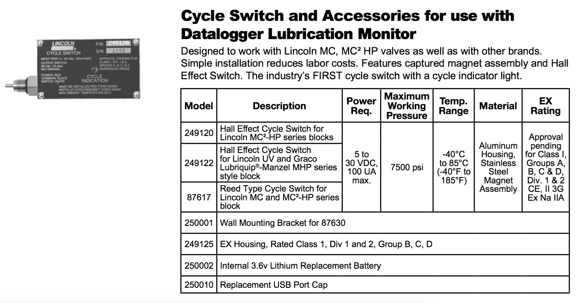 Lincoln Cycle Switch Automated Lubrication