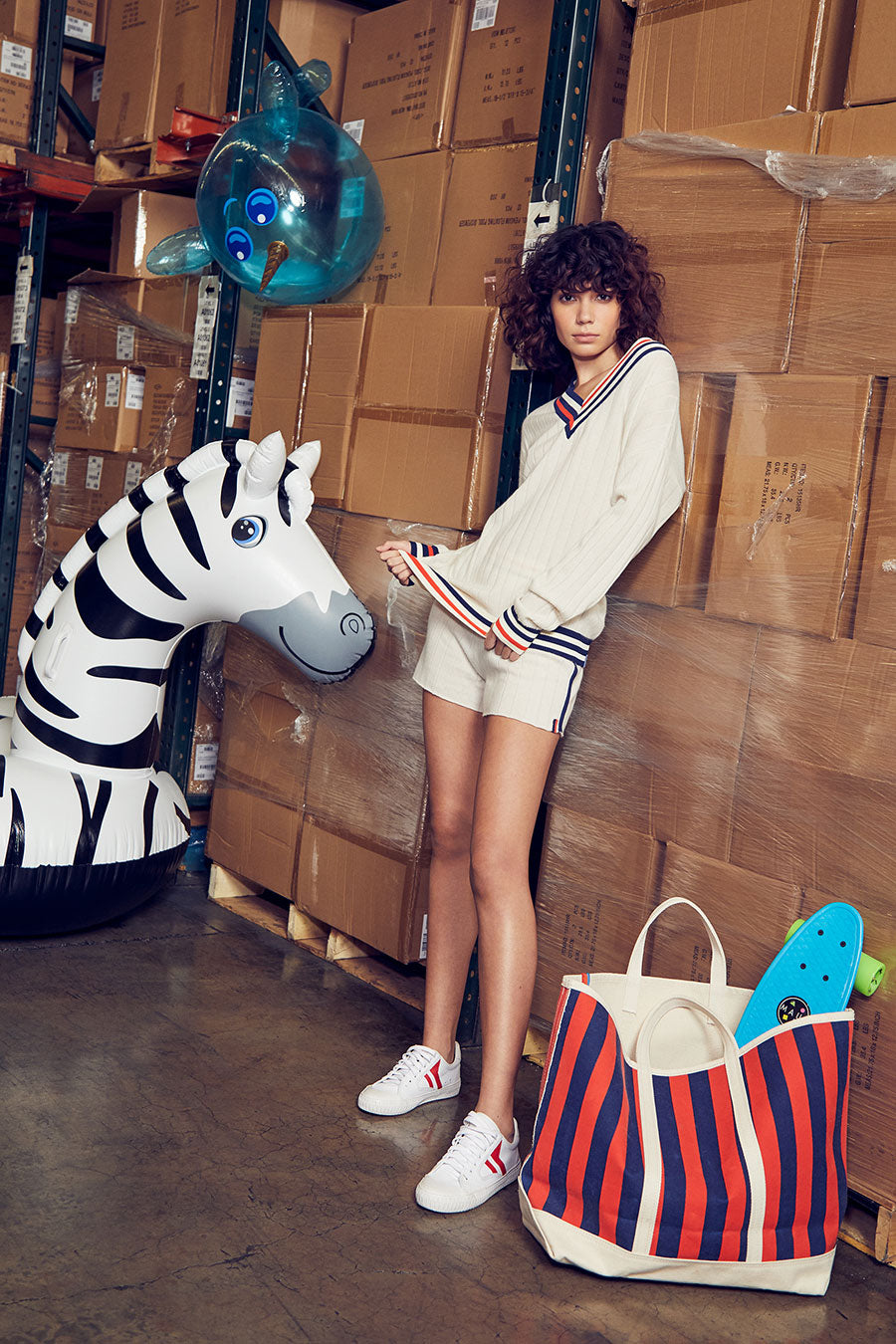 Lookbook model with Petra Sweater and Stripe Tote Bag