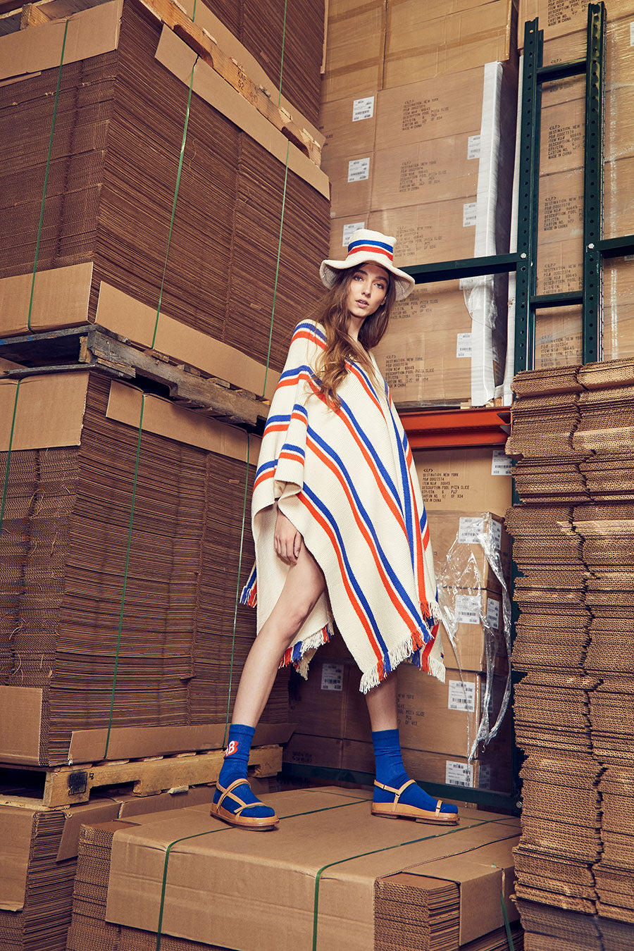 Lookbook model with Raquel poncho and FAB blue socks