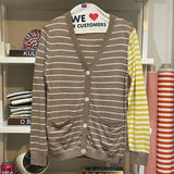 The Cardigan Lightweight Knit - Tan/White/Yellow