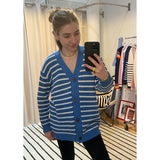 The Chunky Knit Cardigan - Blue/White