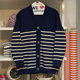 The Chunky Knit Cardigan - Navy/Cream