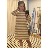 The Long Sleeve Tee Dress - Tan/Cream