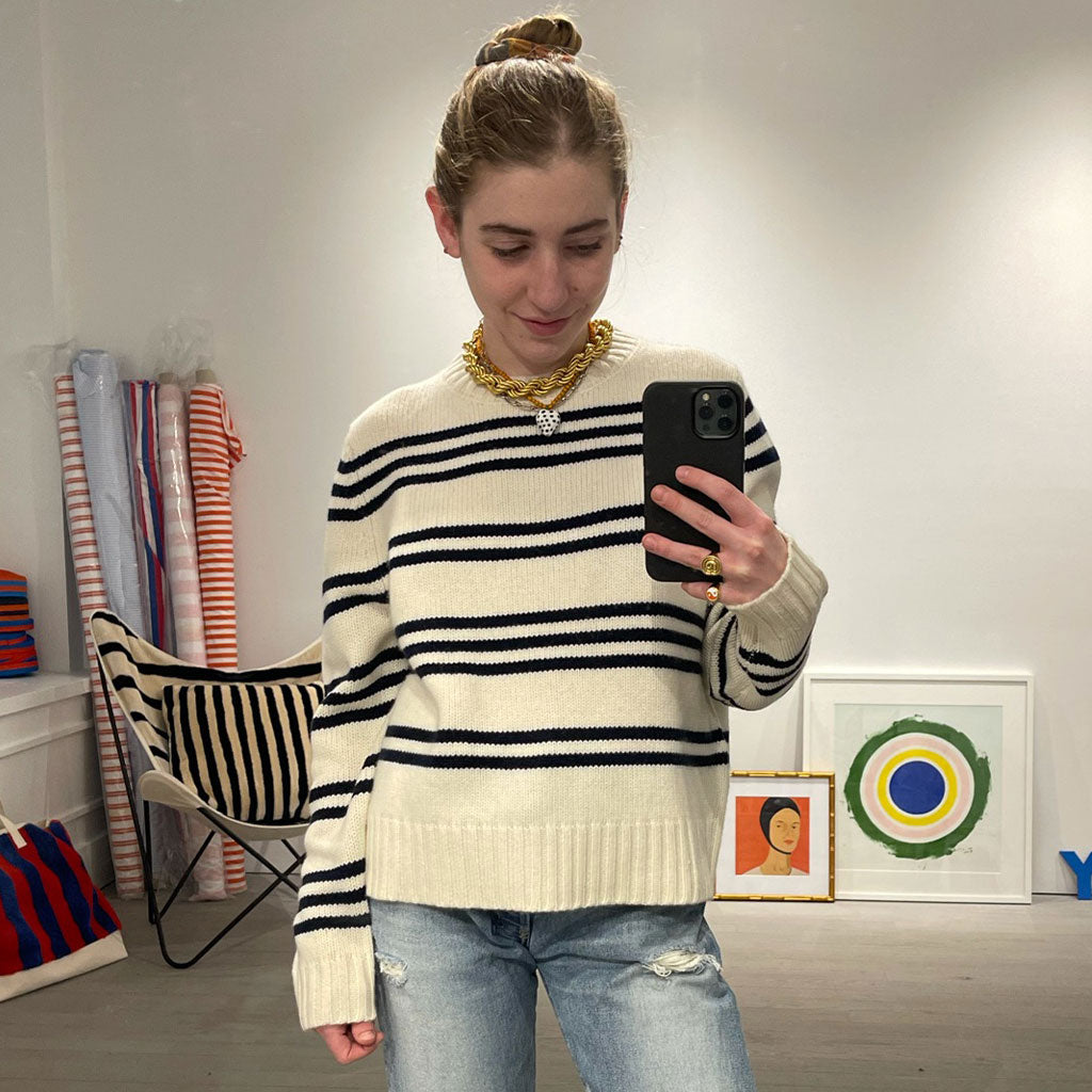 The Chunky Cashmere Striped Knit - Cream/Navy