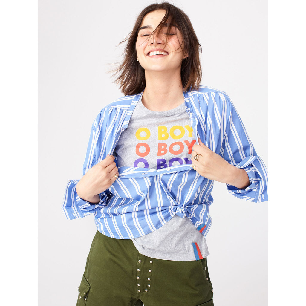 The Brooke - Blue on model paired with o boy tee and green shorts