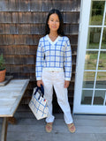 The Windowpane Medium Tote - Canvas/Blue