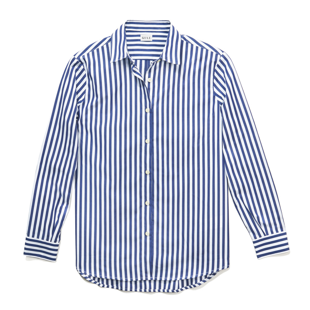 The Hutton Oversize Shirt - White/Navy