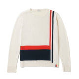 The Albers - Cream Flat - Cream Sweater with Navy and Red Stripe