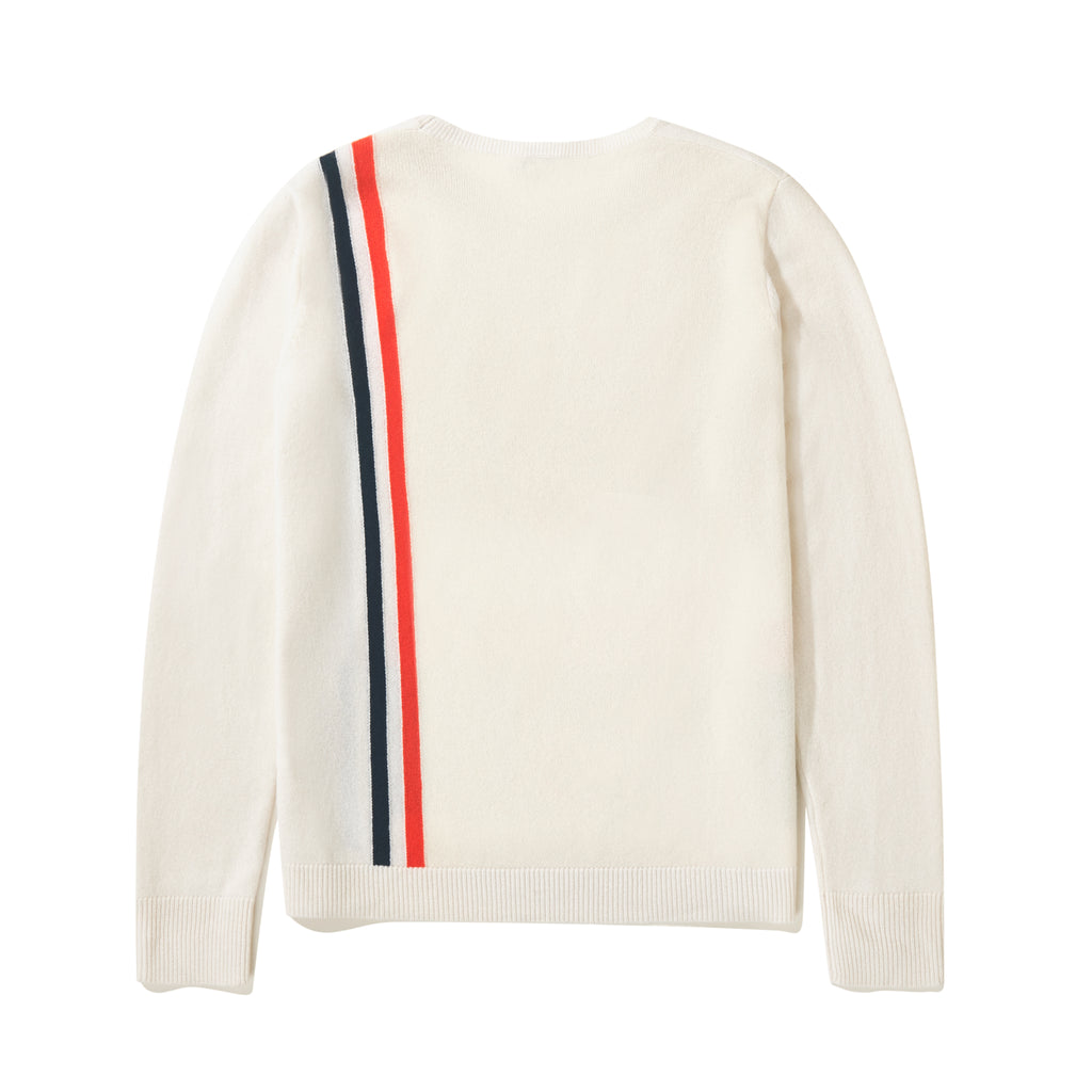 The Albers - Cream Flat - Cream Sweater with Navy and Red Stripe, Back View