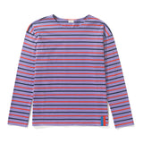 The Mister - Purple/Poppy/Navy Flat - Purple shirt with poppy and navy horizontal stripes