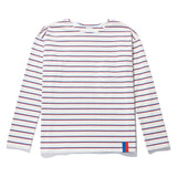 The Mister - White/Royal/Poppy Flat, cream shirt with horizontal poppy and royal blue stripes