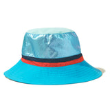 The Buck - Blue Flat, blue hat, metallic blue top, navy/poppy stripe band