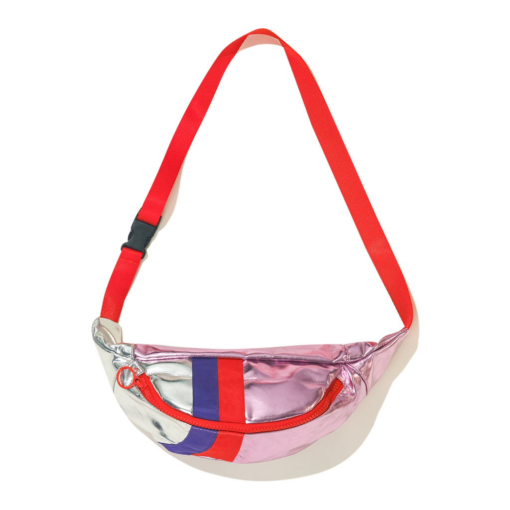 The Fanny - Pink Flat - Metallic pink and silver fanny pack with red belt and signature stripe down middle