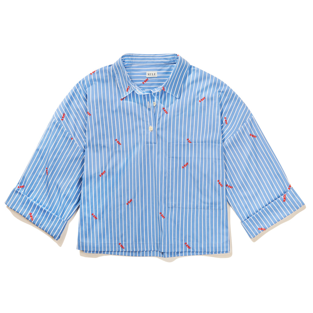 The Keaton Embroidered Shirt - Blue