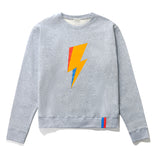 The Raleigh BOLT - Heather Grey Flat, grey sweatshirts with lightning bolt in yellow