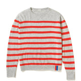 The Skate - Grey/Poppy Flat - Grey Sweater with poppy horizontal stripes