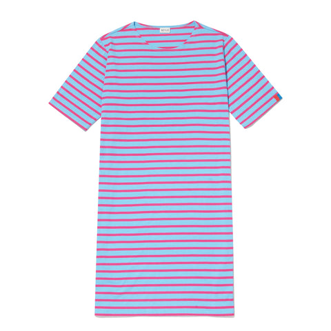 The Tee Dress - Light Blue/Magenta