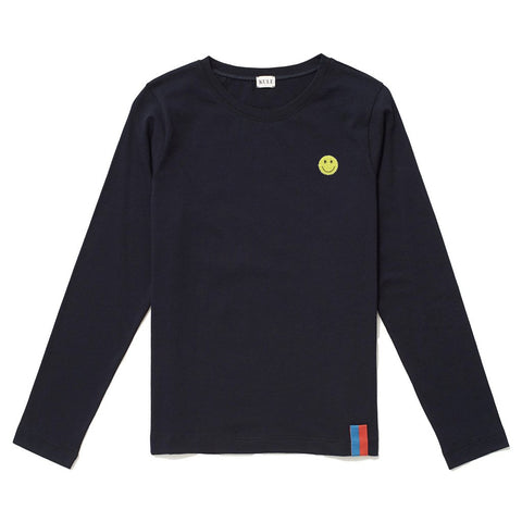 The Modern Long Smile Embroidery - Navy